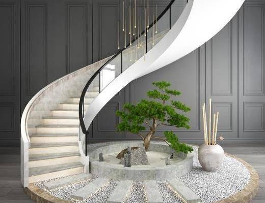 旋转楼梯, 竹子摆件, 摆件组合, 树木, 绿植植物, 楼梯扶手, 园艺小品, 现代