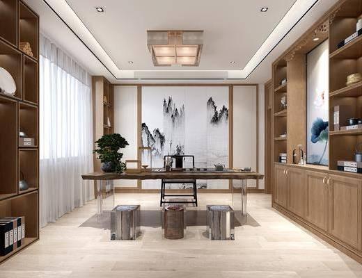 茶室, 茶桌, 单人椅, 凳子, 吊灯, 装饰柜, 盆栽, 绿植植物, 茶具, 摆件, 装饰品, 陈设品, 新中式