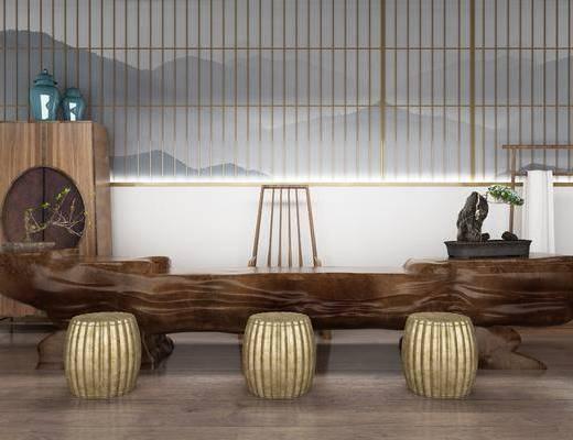 中式根雕茶座