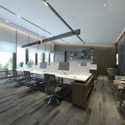 办公室, 办公桌, 办公椅, 单人椅, 吊灯, 电脑桌, 桌子, 现代