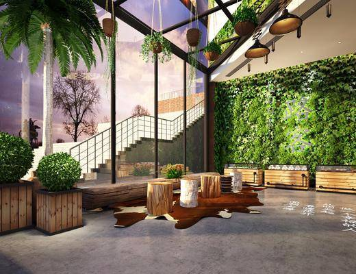 花园, 庭院, 展柜, 绿植, 植物, 植物墙, 盆栽, 现代