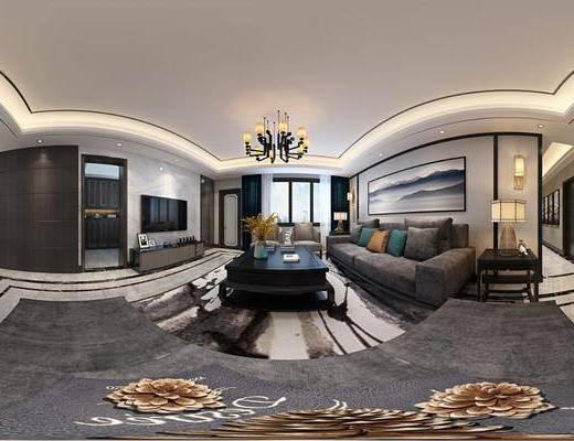 新中式客廳, 茶幾, 多人沙發, 邊幾, 墻飾, 掛畫, 餐桌, 吊燈