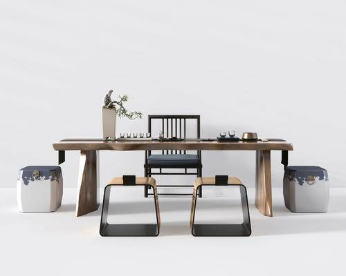 桌椅组合, 茶桌, 凳子, 单人椅, 茶具, 盆栽, 绿植植物, 摆件, 装饰品, 陈设品, 新中式