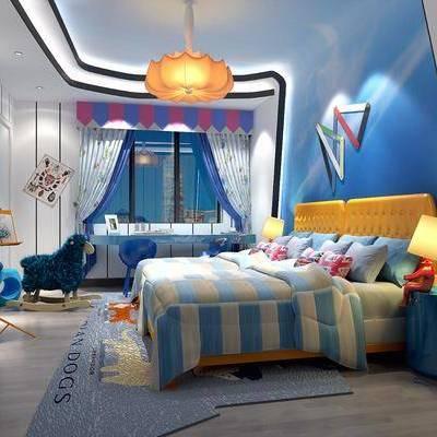 儿童房, 卧室, 床, 地中海, 床头柜, 台灯, 吊灯, 玩具