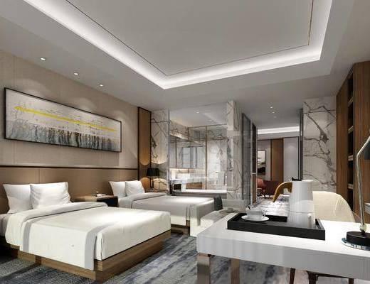 现代酒店套间客房, 现代, 沙发, 床, 床头柜