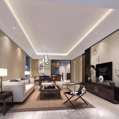 中式客厅餐厅, 中式客厅, 中式餐厅, 沙发, 中式椅子, 中式吊灯, 中式台灯, 中式电视柜