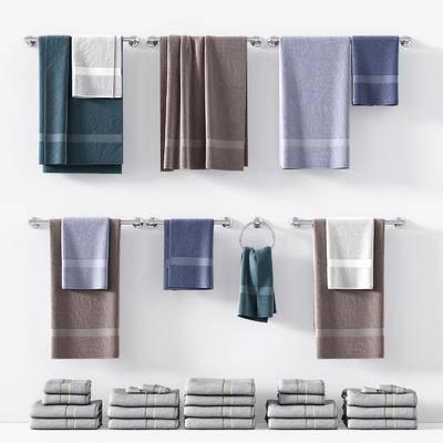 现代毛巾挂件摆件, 现代, 毛巾, 毛巾架