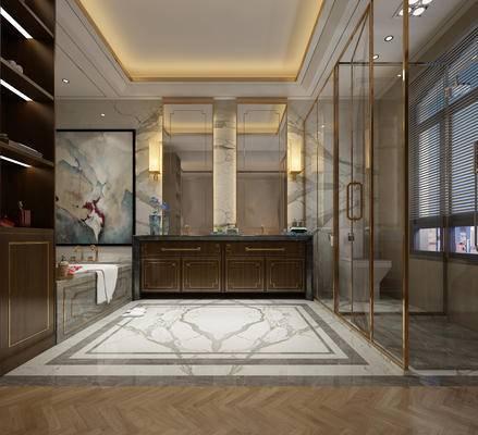 新中式, 卫生间, 淋浴间, 洗手台, 浴缸, 卫浴用品