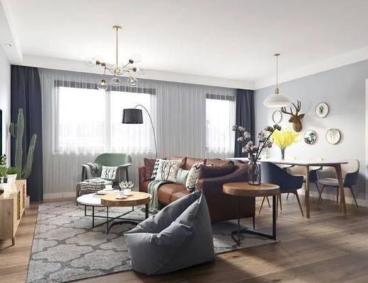 北欧, 客厅, 3d模型