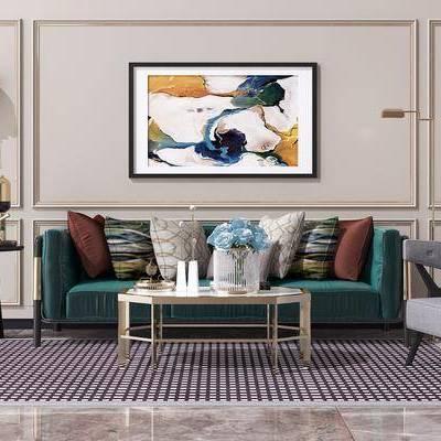 沙发组合, 现代沙发组合, 轻奢, 茶几, 单椅, 休闲椅, 圆几, 台灯, 壁灯, 挂画, 装饰画, 摆件, 装饰品, 现代