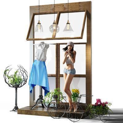 橱窗, 植物, 盆栽, 摆件, 装饰品, 单车, 吊灯, 女人, 人偶, 衣服, 现代