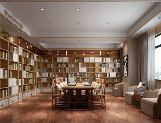 图书馆, 阅览室, 书柜, 书籍