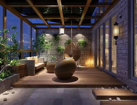 阳台, 阳光房, 绿植, 沙发, 吊椅, 壁灯