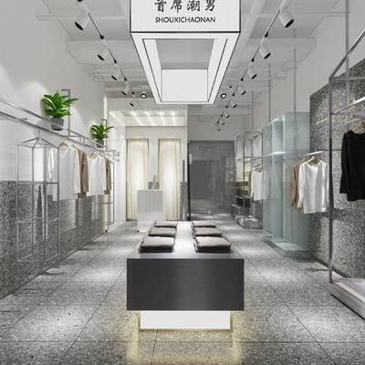 设计师, 服装店, 品牌服装店, 男装店, 现代, 品牌店, 衣架, 售货架, 衣服, 服饰, 服装