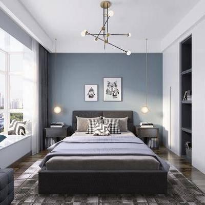 卧室, 床具, 双人床, 吊灯, 床头柜, 挂画, 装饰画, 衣柜, 抱枕, 书籍, 沙发凳, 北欧, 简约