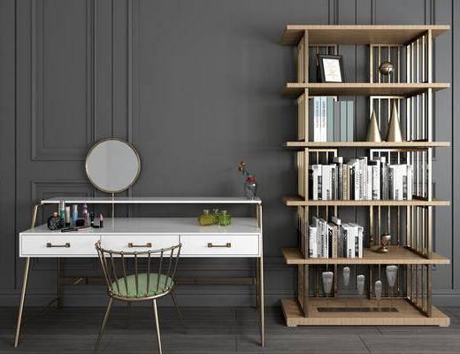 梳妆台, 装饰架, 书桌, 单人椅, 书架, 书籍, 摆件, 装饰品, 陈设品, 现代简约