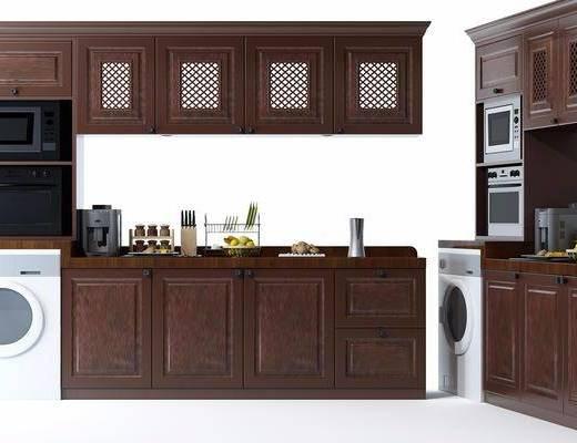 橱柜, 厨具, 洗衣机啊, 烤箱, 器皿, 美式, 摆件