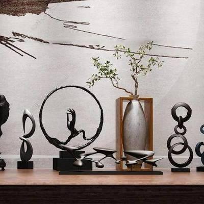 中式, 陶瓷, 陈设品组合, 组合