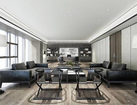 办公室, 经理室, 沙发组合, 沙发茶几组合, 现代沙发, 中式