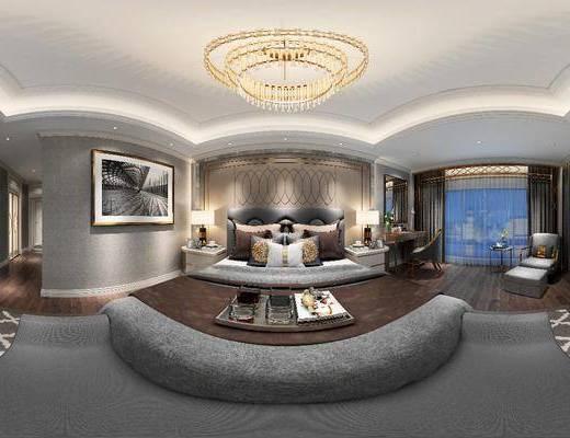 卧室, 现代, 床, 吊灯, 装饰画, 电视柜, 梳妆台, 书桌椅