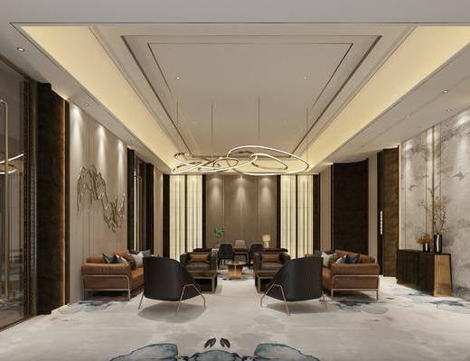 新中式接待室, 多人沙发, 吊灯, 边柜, 单人沙发, 新中式
