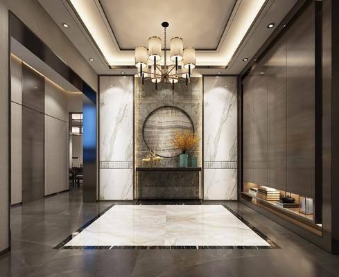 玄关组合, 装饰柜, 吊灯, 摆件, 装饰品, 陈设品, 新中式