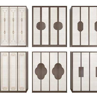 新中式衣柜组合, 新中式, 衣柜, 柜子