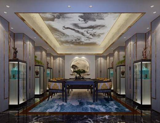 茶室, 茶桌, 单人椅, 装饰架, 摆件, 装饰品, 陈设品, 盆栽, 新中式