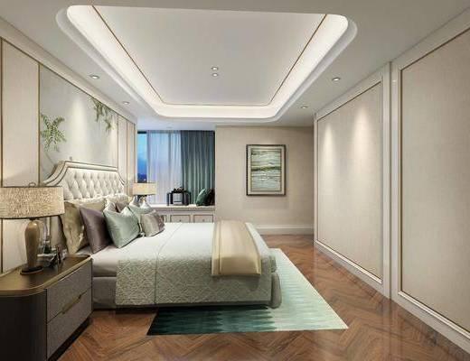 新中式卧室, 中式床, 床头柜, 装饰画, 地毯, 床品