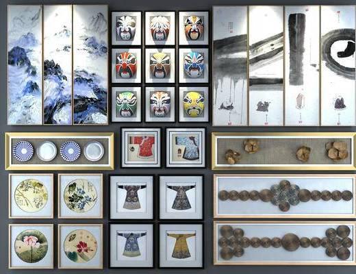 脸谱, 装饰画, 背景墙, 古装, 山水画, 高清, 碟子, 水墨画, 优质模型