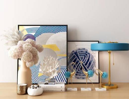 摆件组合, 台灯, 装饰品, 陈设品, 现代