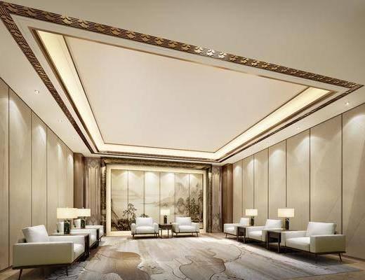 会客厅, 桌椅组合, 洽谈区, 边几, 台灯