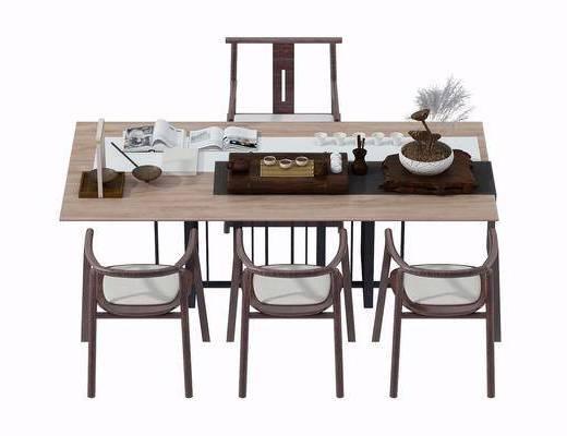 茶几, 茶桌, 单人椅, 摆件, 中式