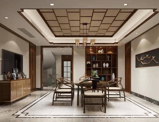 茶室, 茶桌, 单人椅, 茶具, 花瓶花卉, 电视柜, 边柜, 装饰柜, 装饰品, 陈设品, 吊灯, 新中式