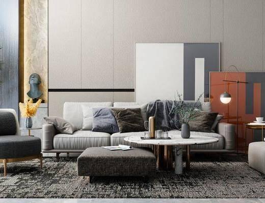 沙发组合, 现代简约, 茶几, 摆件组合, 单椅
