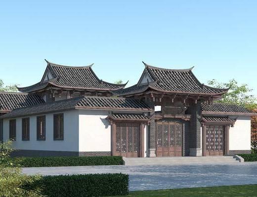 古建筑, 青瓦白墙, 四合院, 私家园林景观