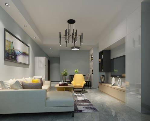 现代客厅, 现代餐厅, 沙发组合, 沙发茶几组合, 电视柜, 卧室, 现代卧室