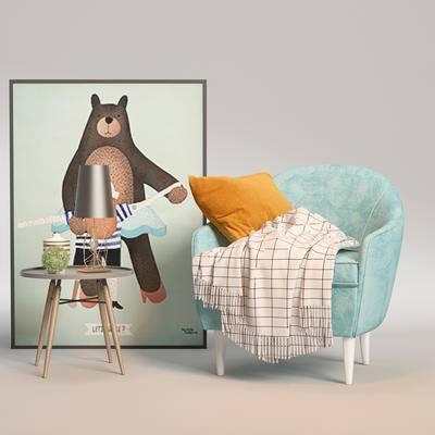 单椅, 休闲椅, 边几, 装饰画