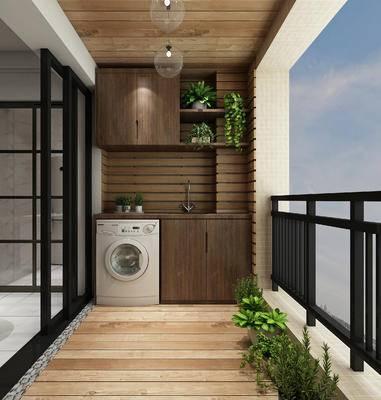现代北欧阳台组合, 洗衣机, 绿植, 推拉门, 阳台柜