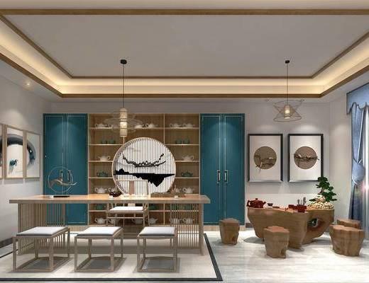 茶室, 茶桌, 茶具组合, 边柜, 装饰画, 植物, 吊灯