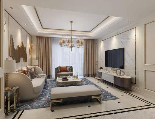 后现代客厅, 后现代, 沙发, 后现代吊灯, 金属吊灯, 电视柜