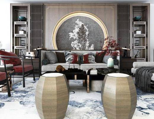 沙发组合, 茶几, 墙饰, 单椅