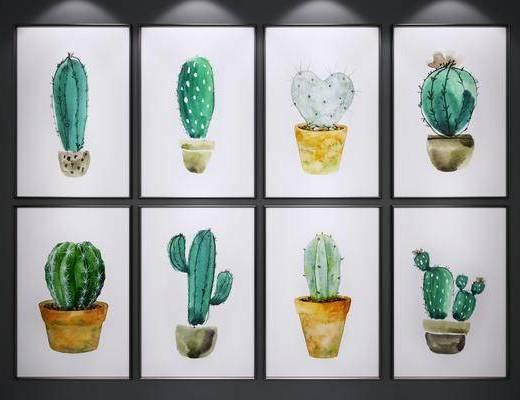 挂画, 绿植装饰画, 仙人球装饰画, 装饰画