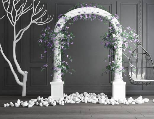 婚礼花圈, 摆件组合, 干枝吊椅, 现代