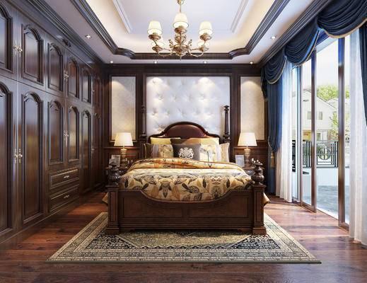 吊灯, 双人床, 地毯, 壁纸, 床头柜, 窗帘, 衣柜, 软包