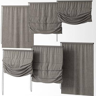 窗帘, 现代窗帘, 布艺窗帘, 罗马帘, 组合, 现代