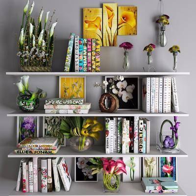 现代书籍花卉装饰画摆件组合, 现代, 书籍, 花卉, 花瓶, 摆件