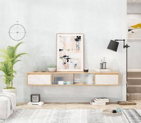 电视柜, 柜架组合, 摆件组合, 装饰品, 墙饰, 落地灯