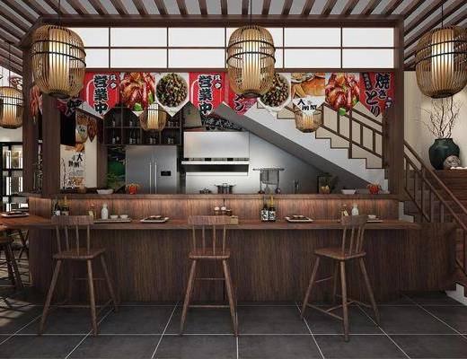 料理店, 吧台, 吧椅, 单人椅, 火锅店, 吊灯, 装饰柜, 日式