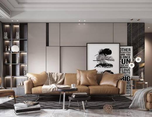 沙發組合, 沙發茶幾組合, 掛畫組合, 現代